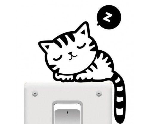 Alvó macska - cica a kapcsolón matrica, faltetoválás nappaliba, előszobába, szekrényre, üvegre is ragasztható