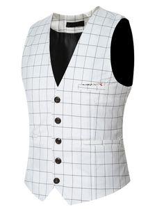 Xadrez colete Casual do homens em cinza/branco/marinha/preto sem mangas Blazer