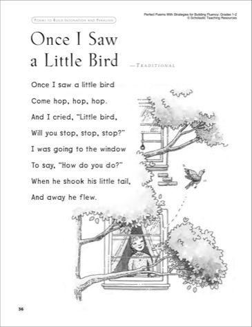 Once I Saw a Little Bird: Read-Aloud Passage Fluency