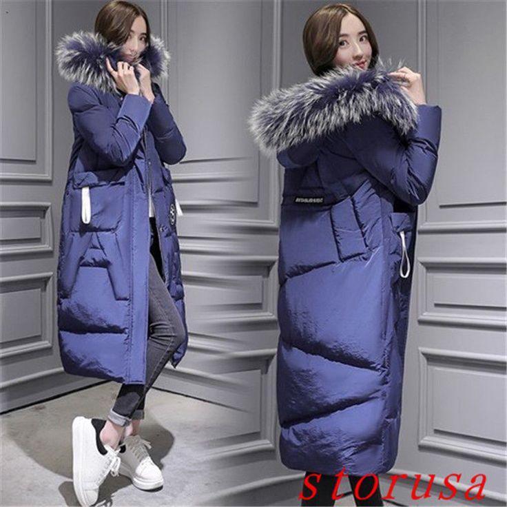 Women'S Fur Hooded Long Down Coat Decor Bubble Padded Overcoat Parkas Size#