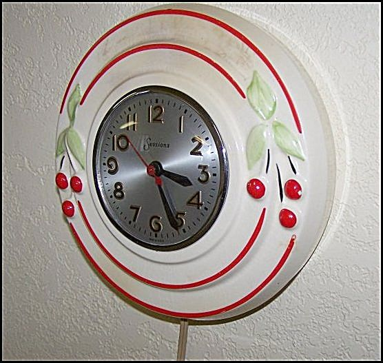 Hull Pottery Red Cherries w/Sessions Electric Clock....Must have this for my kitchen!!!!!