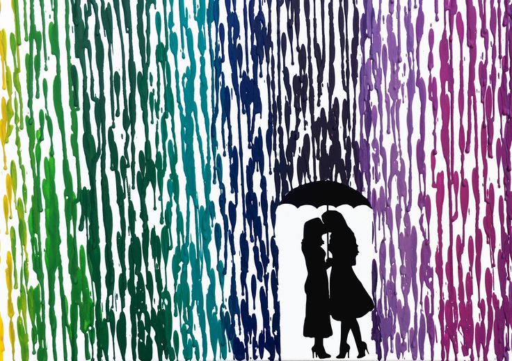 Lesbian Gift, Melted Crayon Art, Lesbian Wedding Gift, Rainbow Art Canvas, Girl Silhouette Art, LGBTQ Pride, Lesbian Anniversary Gift 16x20 by FemByDesign on Etsy  #lesbianweddinggift #lesbiananniversary #rainbowart #girlcouples #lesbianart #kissingintherain #meltedcrayonart #lesbiangirlfriendgift #lesbiangift #girlsilhouette #artcanvas #lgbtqpride #16x20 #couplesilhouette #silhouetteart