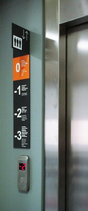 Floor and elevator signage, by G.Nikolakopoulou for the Archaelogical Museum of Thebes offices
