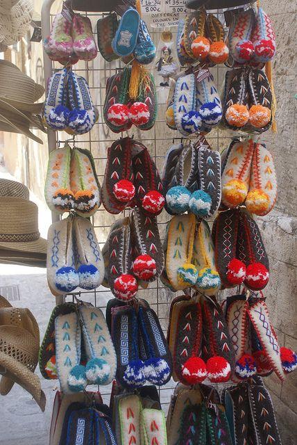 handmade traditional greek woolen slippers