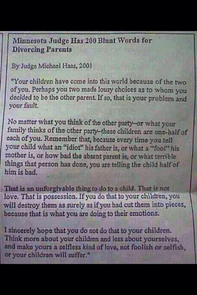 Letter from judge to divorcing parents 121