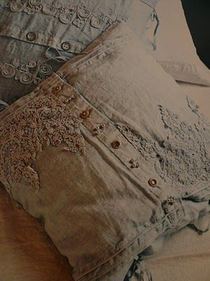Pillows by recycling old linen clothing, tops, blouses, dresses; add vintage crochet and lace.  Upcycle, recycle, salvage, diy, repurpose!  For ideas and goods shop at Estate ReSale  ReDesign, Bonita Springs, FL