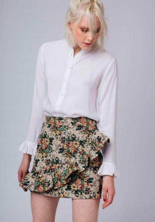 ca69b639e Falda Sevilla - Minifalda de tela rígida con estampado de flores ...
