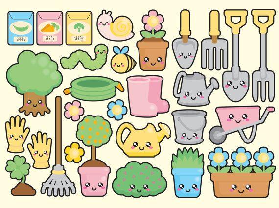 High quality vector clipart. Cute gardening vector clip art. Kawaii garden…