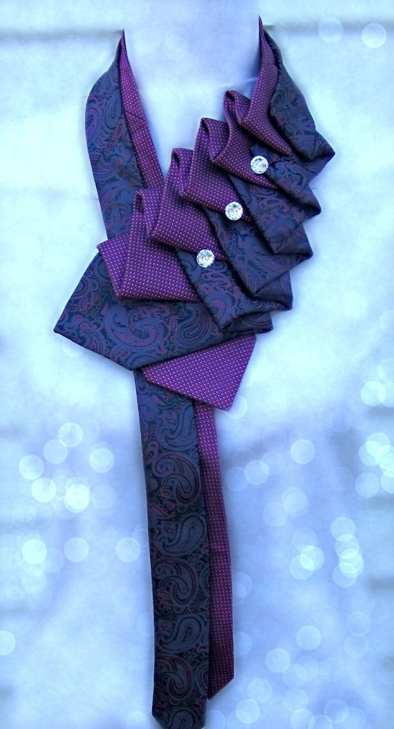 Silk Scarf Ruffle Tie pink paisley hand by TiedToPerfectionNH
