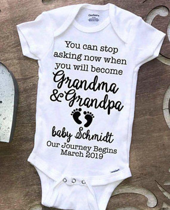 hello grandma and grandpa pregnancy announcement Announcement grandparent personalize onesie onesie gift new baby surprise reveal