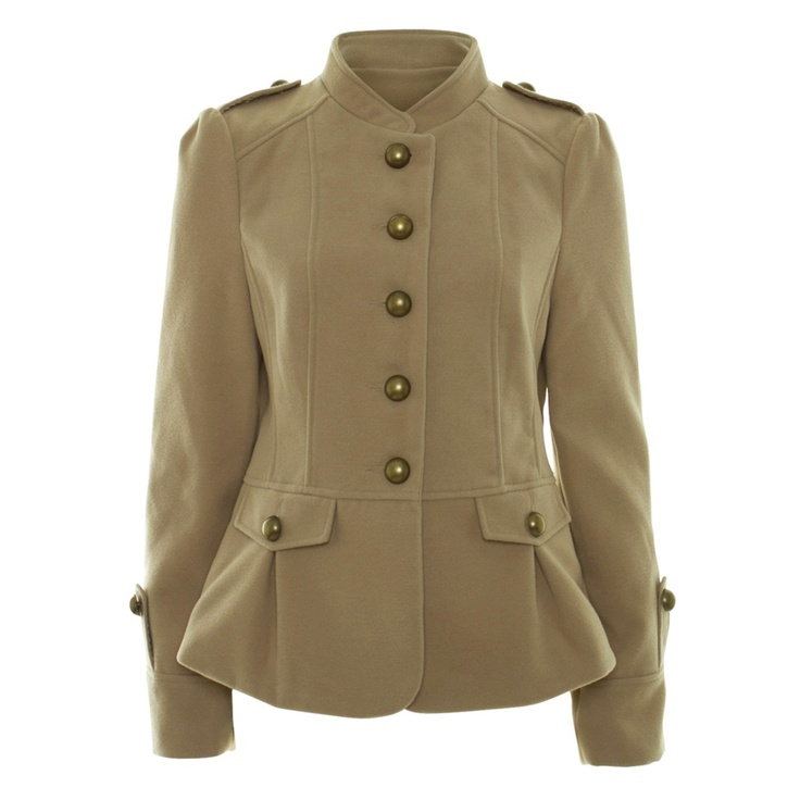 Beige Long Sleeve Military Jacket. Want: Awear Style, Awear Beige