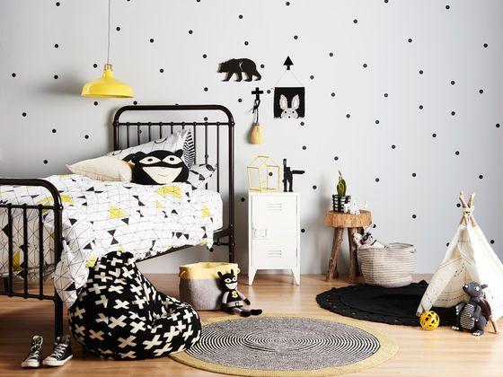 black white yellow boy's room