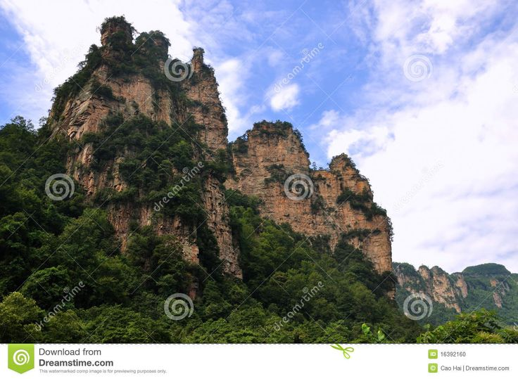 Mountain and rocks, with attached green plant, locate in zhangjiajie ...
