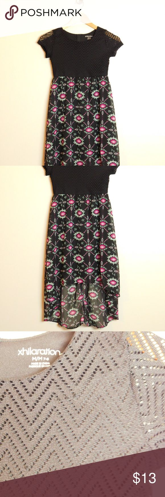 """Girls Chevron Lace High Low Tribal Maxi Dress 7/8 EUC excellent used pre-owned condition, looks new Children's kids size 7/8 Color:    Black Magenta pink mint green white Length in front hem 29"""" Length in back hem 37""""  Scoop neckline Short Sleeves Back zip closure Chevron mesh lace bodice Aztec printed chiffon skirt High low hem long in the back Fully lined  Fabric & Care 100% polyester Machine washable Xhilaration Dresses Casual"""