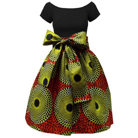 Meni African Print High Waist Full Skirt (Dark Orange/Green)