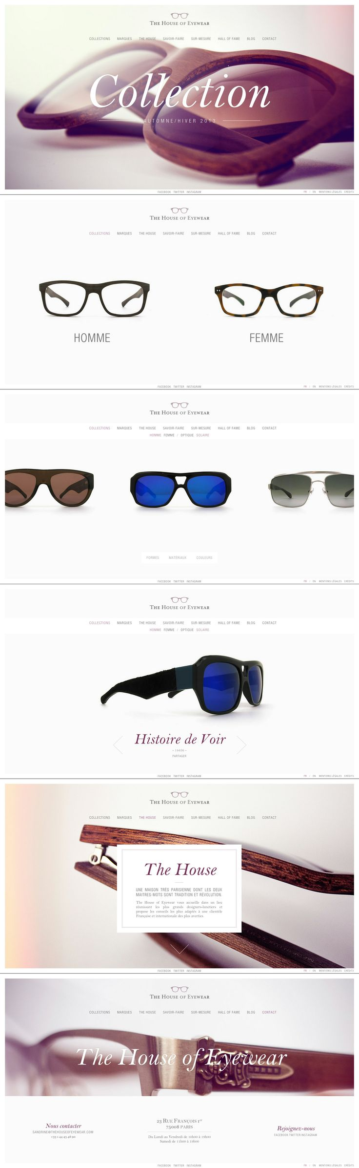 The House of Eyewear \\ Such a beautiful & clean website. http://thehouseofeyewear.spellwood.fr