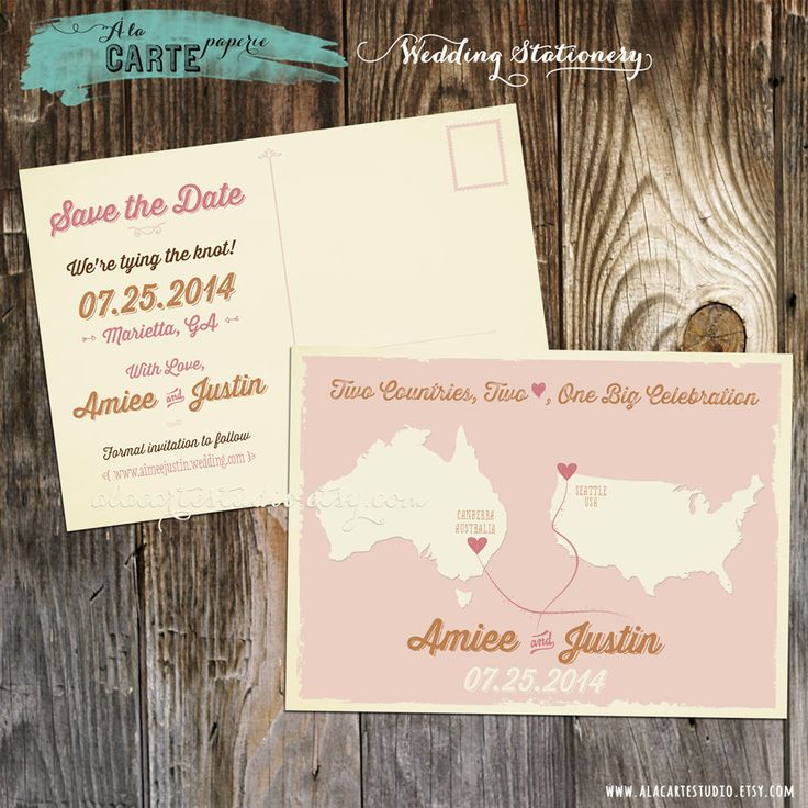 tie the knot wedding invitations etsy%0A Destination wedding Australia USA Two Countries Two Hearts One Celebration  Save the Date Postcard Blush Gold bilingual DEPOSIT PAYMENT