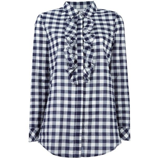 Twin-Set gingham check shirt ($95) ❤ liked on Polyvore featuring tops, blue, gingham top, checked shirt, gingham check shirt, blue top and print shirts