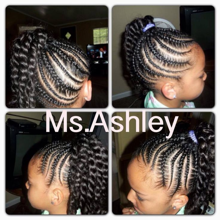 Little girl cornrow/twist ponytail hairstyle