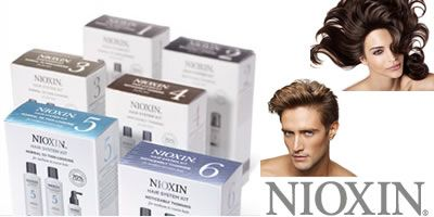 Nioxin Products for Thinning Hair - Deals with the 6 factors for thinning hair.  6 reasons for hair loss are:  1. Genetics - hormonal changes 2. Nutrition and Diet  3. Environmental Factors  4. Stress and Trauma 5. Health Issues 6. Medications