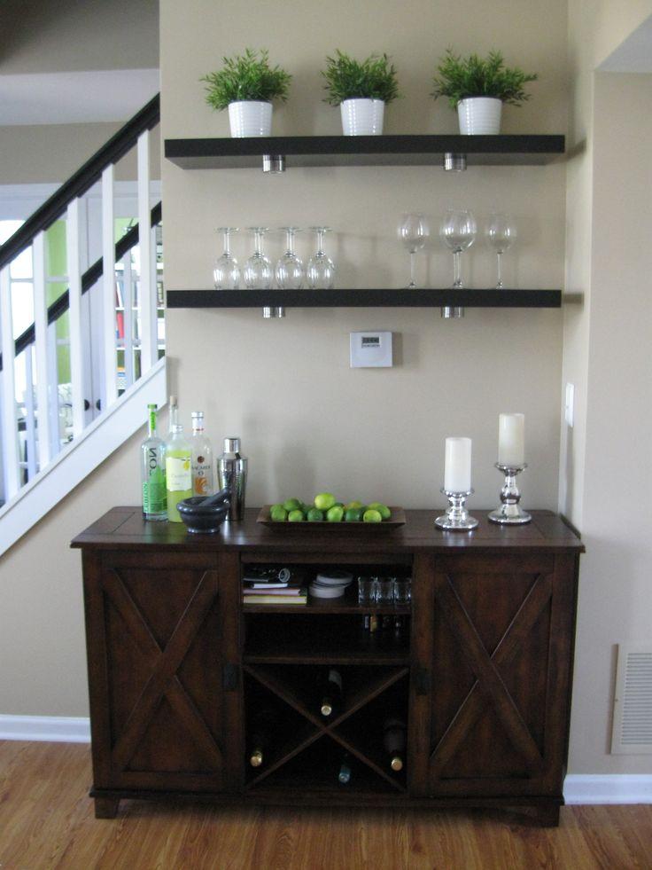 Living room bar area - Ikea Lack shelves, World Market Verona buffet