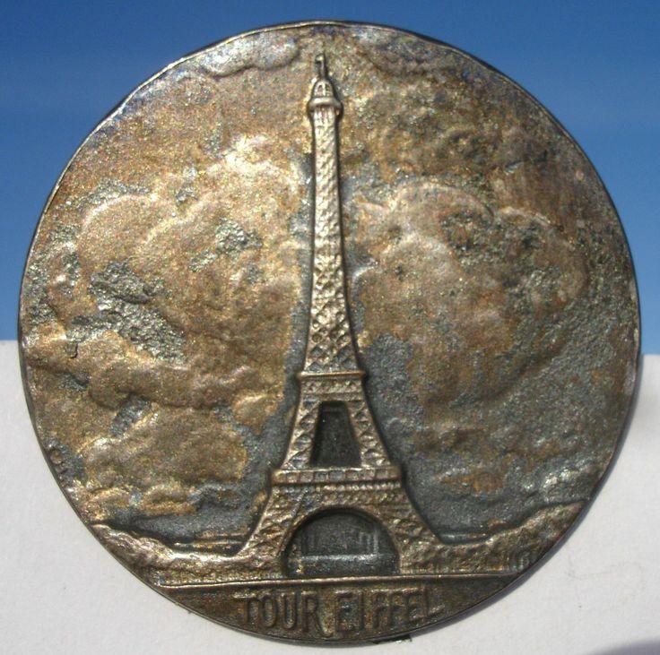 """ButtonArtMuseum.com - Marked """"Eiffel Tower""""French Nouveau 1940s Pewter Vintage Antique Picture Button"""