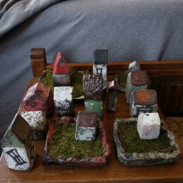 Raku houses on moss bed, 2016