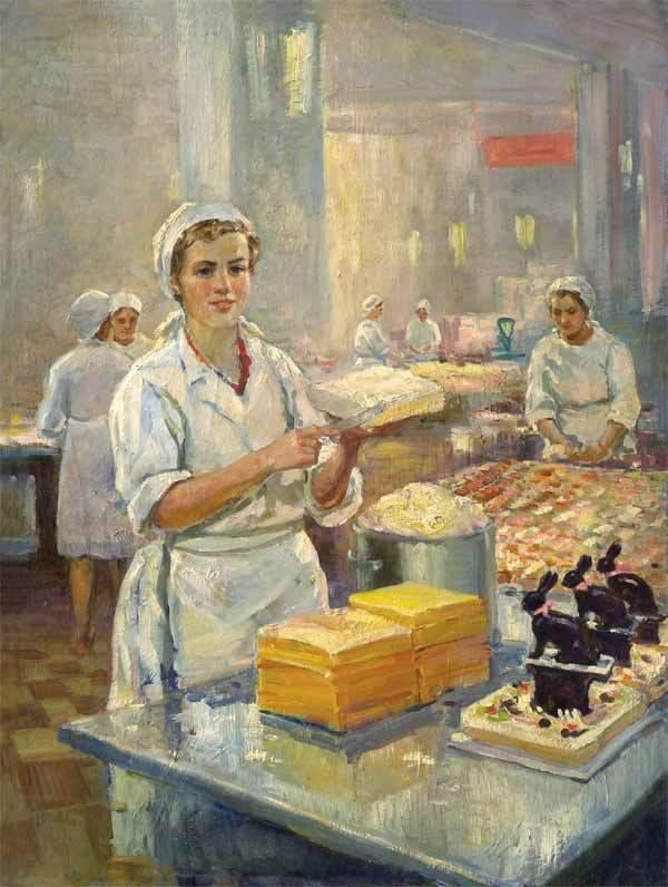 """Alexander M. Nora-Mendelevna (1916 - 2005) - In the factory"""" Bolshevik, 1954.   (A Confectionary Factory)"""