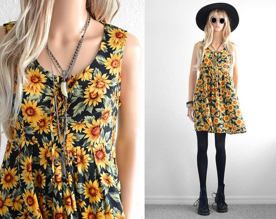 90s Floral Dress 90s Grunge Sunflower Dress by 2treasurehunt
