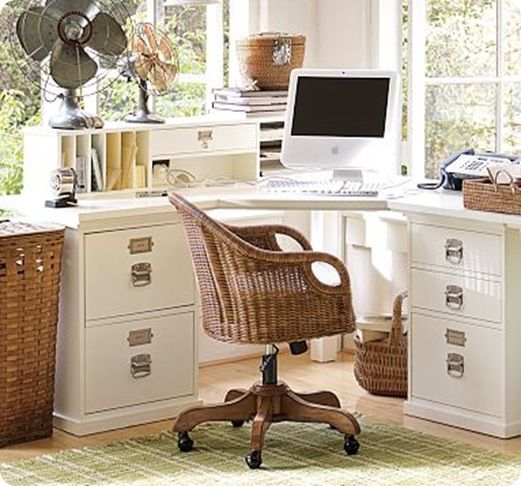 White Office Corner Desk - I love the mini hutch for inboxes and drawers!