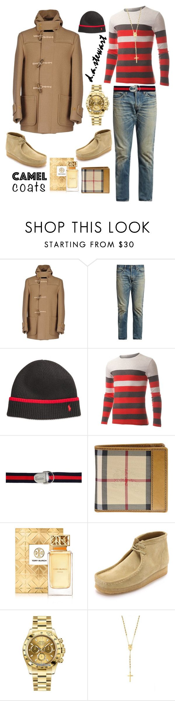 """🐫"" by dastewart ❤ liked on Polyvore featuring Gloverall, Simon Miller, Polo Ralph Lauren, Gucci, Burberry, Tory Burch, Clarks, Rolex, Mister and men's fashion"