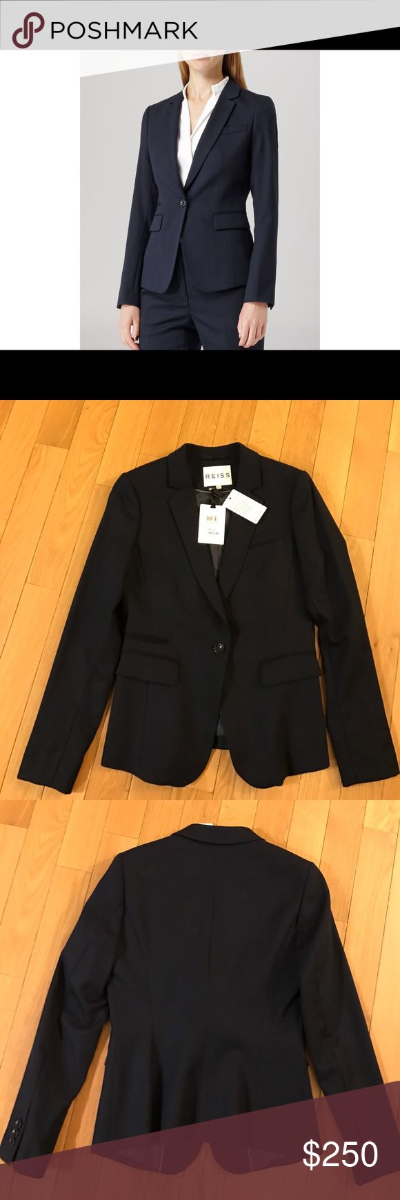 NWT Reiss Theo Tailored Navy Blue Jacket US 6 Brand new Reiss Theo women's navy blue tailored jacket - size US 6.  Bought this recently but it was too small and I missed the return window. Reiss Jackets & Coats Blazers