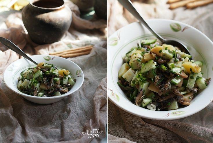 HAPPYFOOD - Картофельный салат с грибами и огурцом