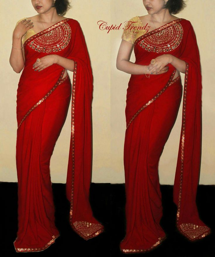 Saree design madhu pinterest saree blouse designs for Mirror work saree