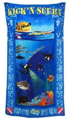 """Ultimate Best Luxury Oversized Beach Pool Towel and Bag Hidden Pockets also perfect as All in One Cruise Shore Excursion Bag for Kick'n Scuba Sports Enthusiasts it is also fully Wind Resistant!. Amazing extra large 40"""" X 72"""" made of very high quality 500 GSM cotton Activity graphics incorporate globe to help focus on dreams of next experiences. Beach, pool and travel bag is all you will need for the day all stored in a safe and secure manner with 2 large 10"""" X 16"""" and 1 7"""" X 7"""" hidden..."""
