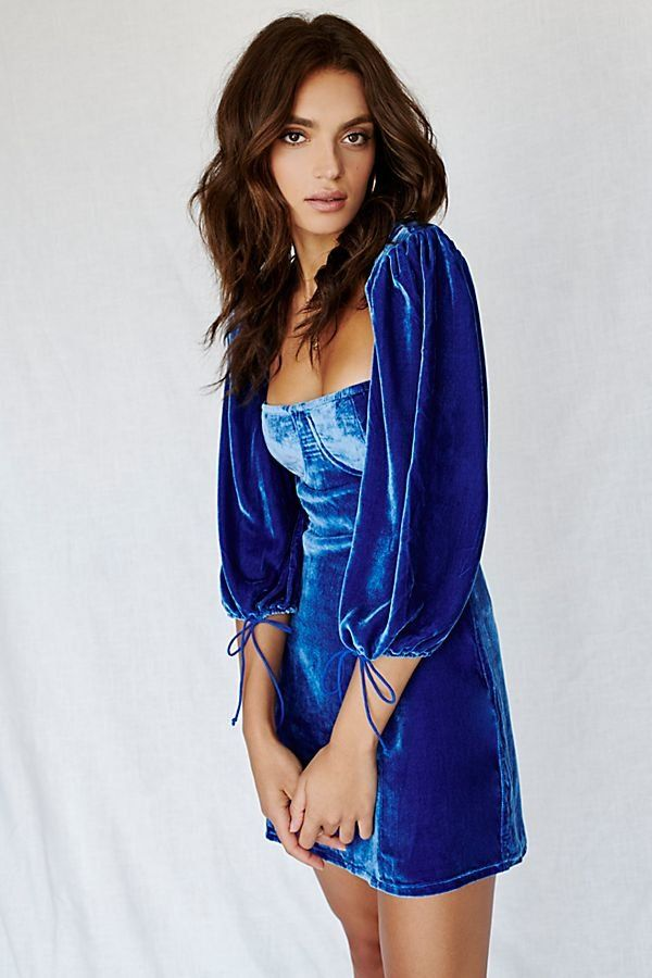 957ebcd4bc7 Nadine Velvet Bustier Mini Dress - Cobalt Blue Velvet Bustier Long Sleeve  Mini Dress with Open Back
