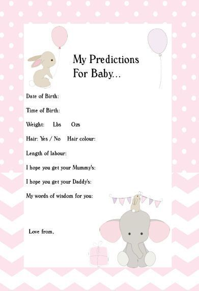 Baby Predictions Elephant,Pink,Girl,Bunny,Printable,Instant Download,Baby Shower Ideas,Predictions For Baby,Baby Shower Games,Baby Shower by SunshineBabyShowers on Etsy