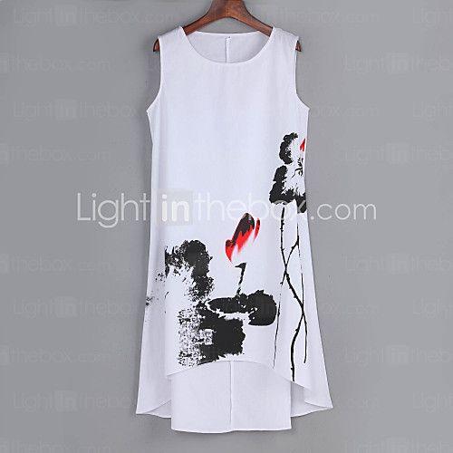 Mulheres Solto Vestido,Casual / Tamanhos Grandes Vintage Estampado Assimétrico Altura dos Joelhos Sem MangaAzul / Vermelho / Branco / de 2016 por R$54.05