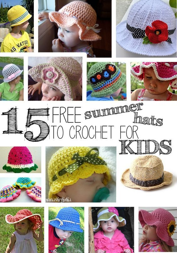 Craft Passions: 15 Free Summer Hats to Crochet for Kids free patte...