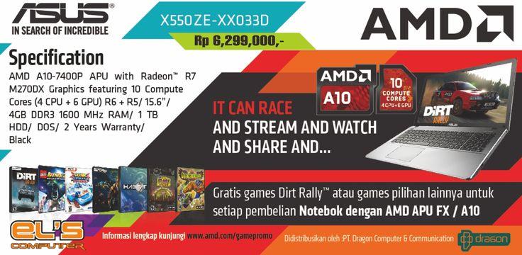 """Berikut spesifikasi detail untuk Asus X550ZE-XX033D Graphic – Black AMD Quad Core A10 7400P – Up to 3,4GHz / Memory 4GB / HD 1TB / DVD-RW / 15,6"""" / Dual Radeon R6 + R5 – 2GB / Bluetooth dengan Garansi 2 Thn. Untuk informasi detail bisa dicek via http://www.els.co.id/shop/asus-x550ze-xx033d-graphic-black"""