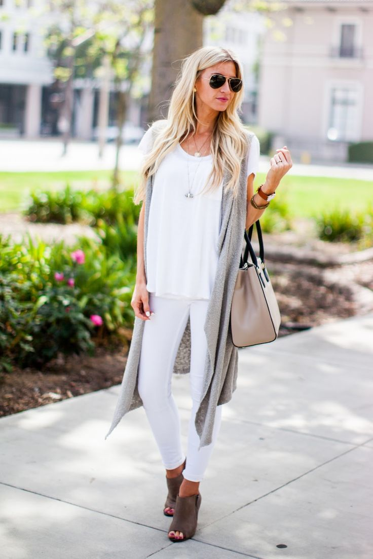 All white + grey spring outfit.