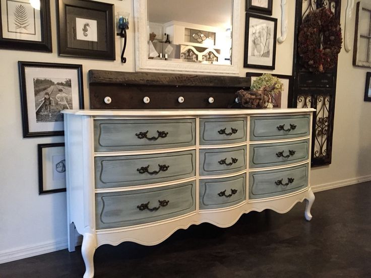 French Provincial 9 drawer dresser refinished