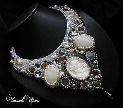 """Купить Колье """"Вlack diamond"""" - серебряный, колье, украшение из бисера, натуральные камни, беломорит"""