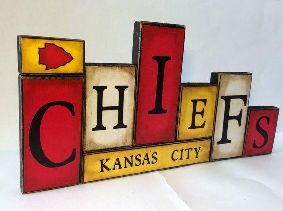 Kansas City Chiefs Word Blocks  KC Wooden by GuidingPrintables