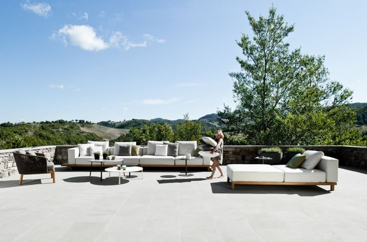 The Vis à vis sofa by Tribù is an outdoor lounge sofa that brings an ode to pure design. Slender, teak platforms support comfortable waterproof outdoor cushions without any visible back or arm structure. The cushions are supported by brackets in stainless steel which means that the sofa looks great from whichever way you look at it. www.marlanteak.com