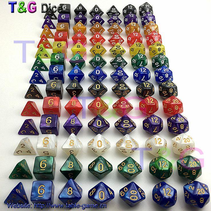 7 pc/lot dice set d4 d6 d8 d10 d20 d10 d12 Tinggi kualitas Dadu Multi-sided dengan efek marmer-DUNGEON dan DRAGONS permainan rpg dadu
