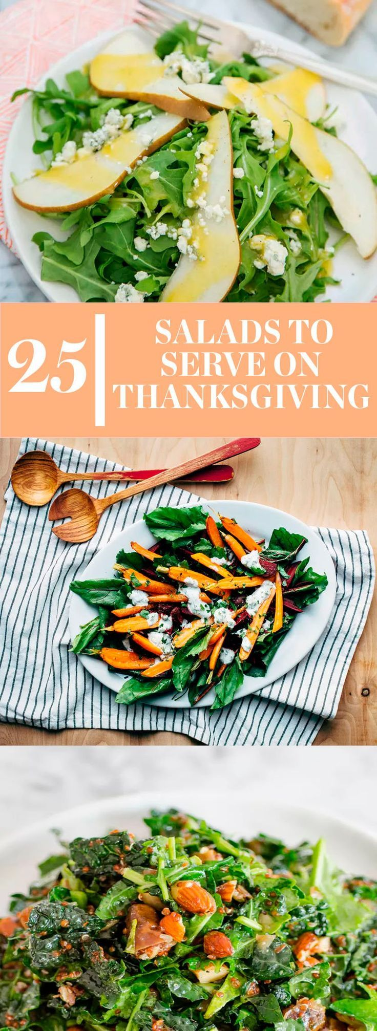 25 Fall Salad Recipes and Ideas for Thanksgiving or Other Holiday Parties. Add some healthy greens (or some indulgent ones) to your selection of Thanksgiving side dishes! These tasty salads will bring a smile to anyone's face as they load up their plates with sides.
