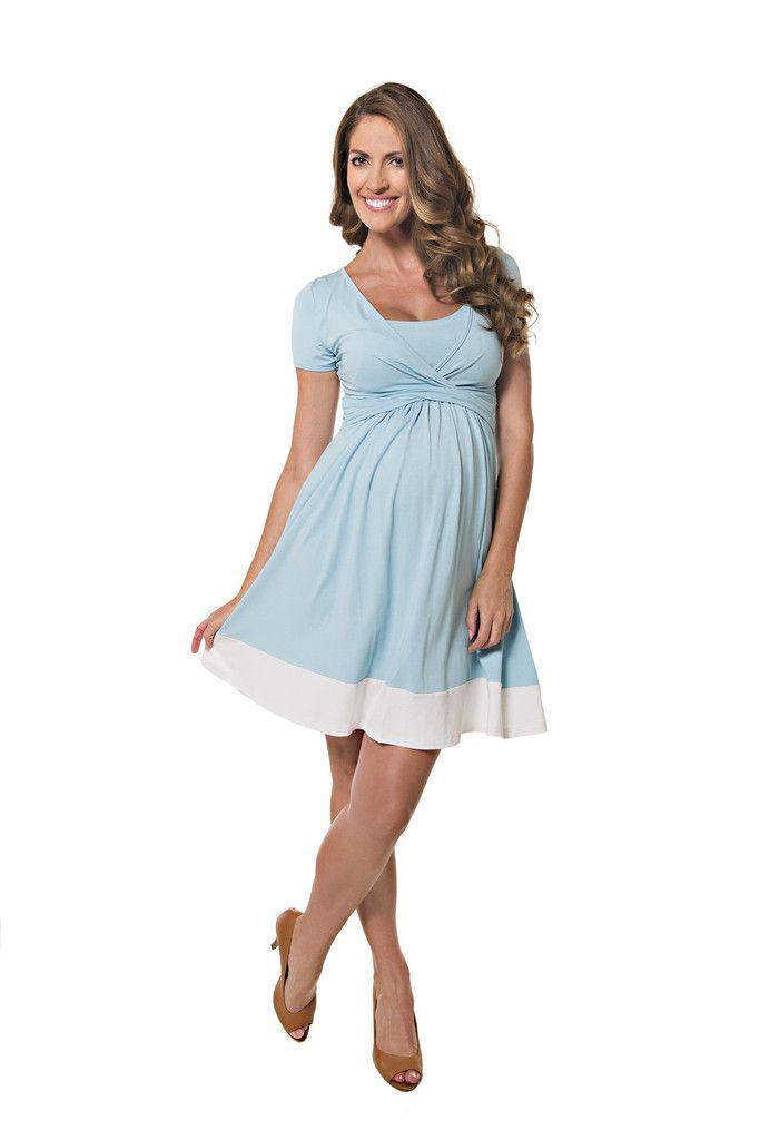 The Lonzi&Bean Maternity UltiMum Dress in Duckegg & Vanilla