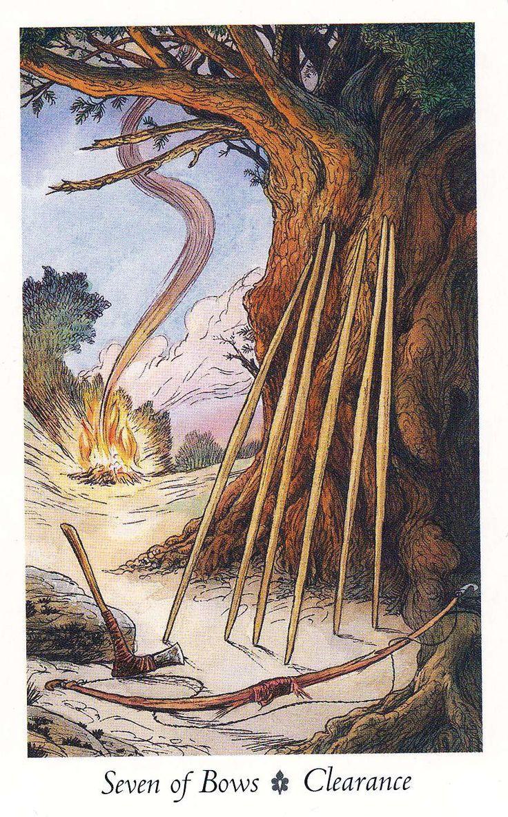"""Seven of Bows - Clearance """"Wildwood Tarot"""" Illustrator Will Worthington, and Mark Ryan, John Matthews (Authors)."""