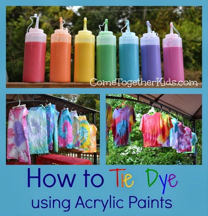 Tie Dye using acrylic paints instead of dye - great idea! Inexpensive & easy! $ STORE *arcrylic paints *condiment squeeze bottles *elastic bands *rubber gloves  Michael's/craft store: * textile medium *white t-shirts